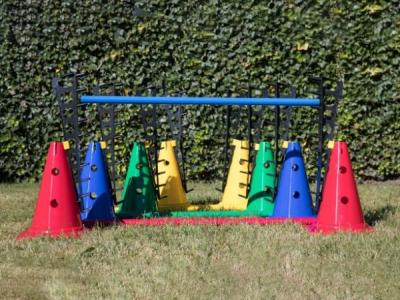 16-delige set pionnen 30 cm, stokken 100 cm en horden